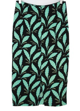 Diane Von Furstenburg Black Silk Pencil Skirt with Green Foliage Print 2