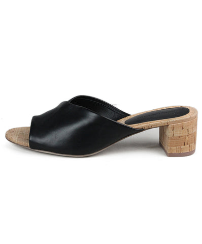DVF Black Leather Cork Mules 1