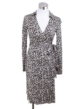 DVF Black Tan Print Silk Dress 1