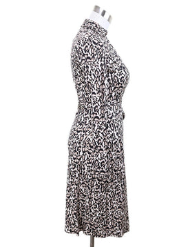 DVF Black Tan Print Silk Dress 2