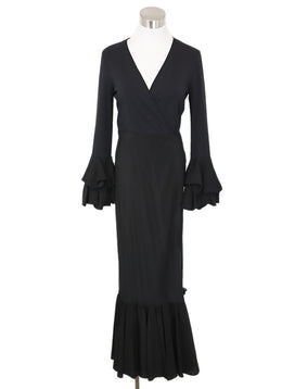 DVF Black Viscose Silk Ruffle Dress 1