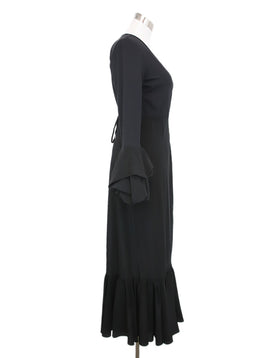 DVF Black Viscose Silk Ruffle Dress 2