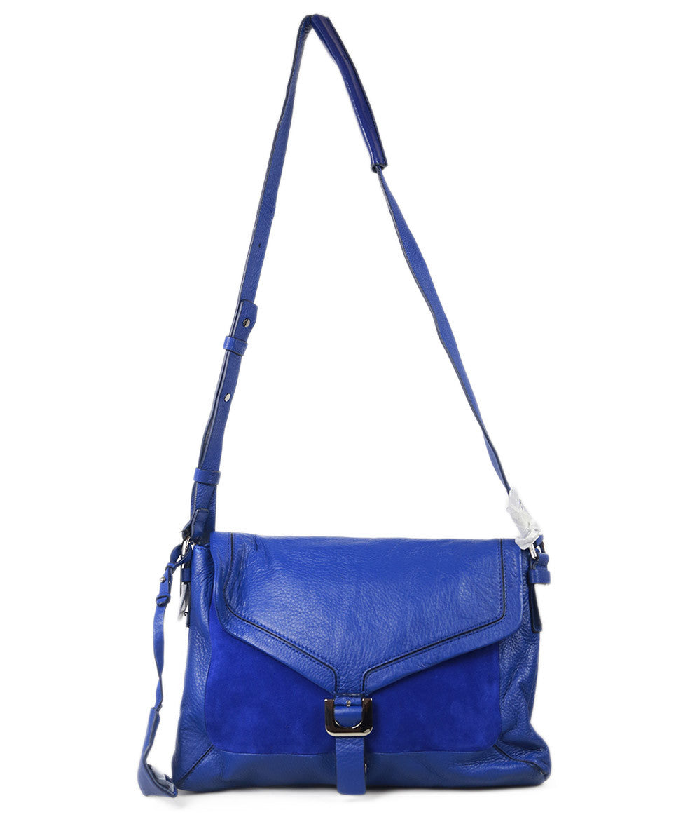 "Dvf Blue Leather Suede ""Drew Connect"" Handbag"