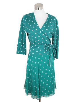 DVF Green White Print Cotton Silk Dress 1