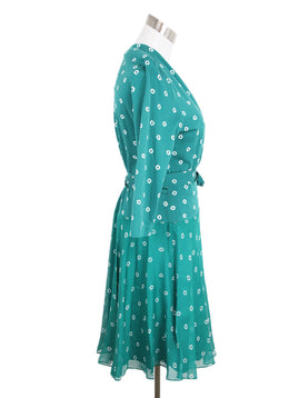 DVF Green White Print Cotton Silk Dress 2