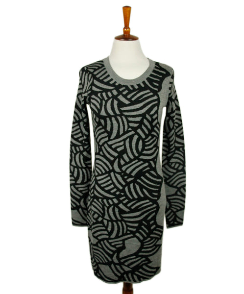 Dvf Grey Black Wool Dress Sz S