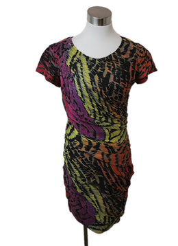 DVF Multi Color Silk Print Dress 1