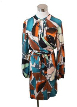 DVF Teal Orange Multi Silk Dress 1