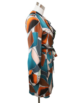 DVF Teal Orange Multi Silk Dress 2