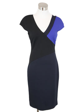 DVF Black Royal Blue Viscose Elastane Dress 1