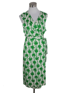 DVF Green White Print Cotton Silk Long Sleeve Dress 1