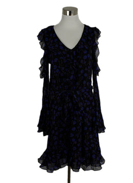 DVF Size 4 Black Blue Burgundy Print Silk Ruffle W/Belt Dress 1