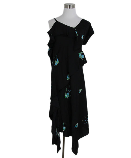 DVF Black Blue Green Print Silk Dress 1