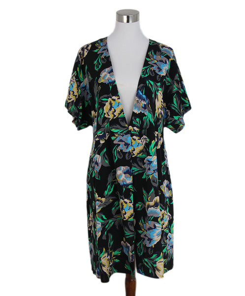 DVF black green grey floral print dress 1