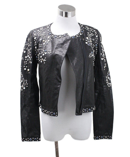 Badgley Mischka Black White Knit Cardigan sz 8