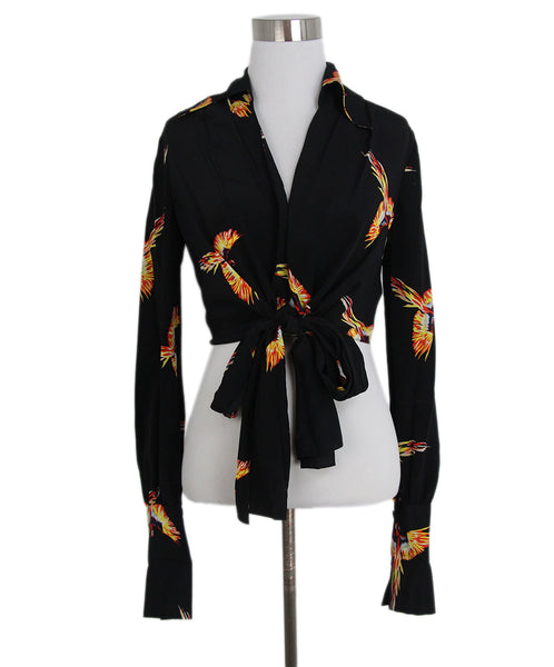 DVF black orange print cropped blouse 1