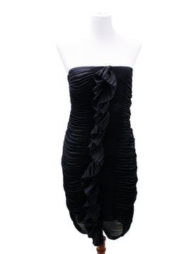 DVF Black Pleated Silk Dress