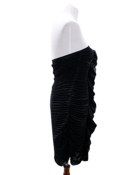 DVF Black Pleated Silk Dress 1