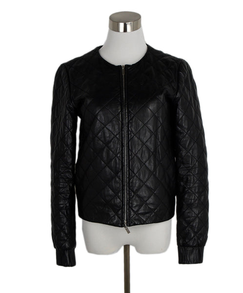 DVF Black Quilted Leather Jacket 1