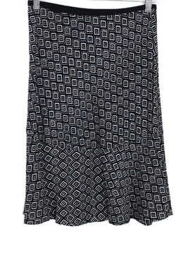 DVF Black White Cubes Print Skirt 1
