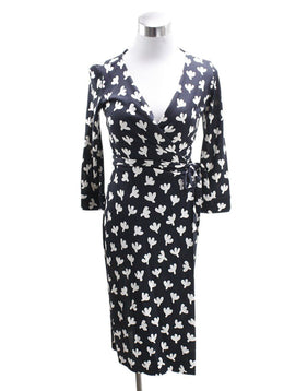 DVF Black White Silk Dress