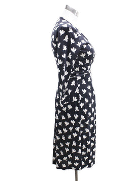 DVF Black White Silk Dress 1