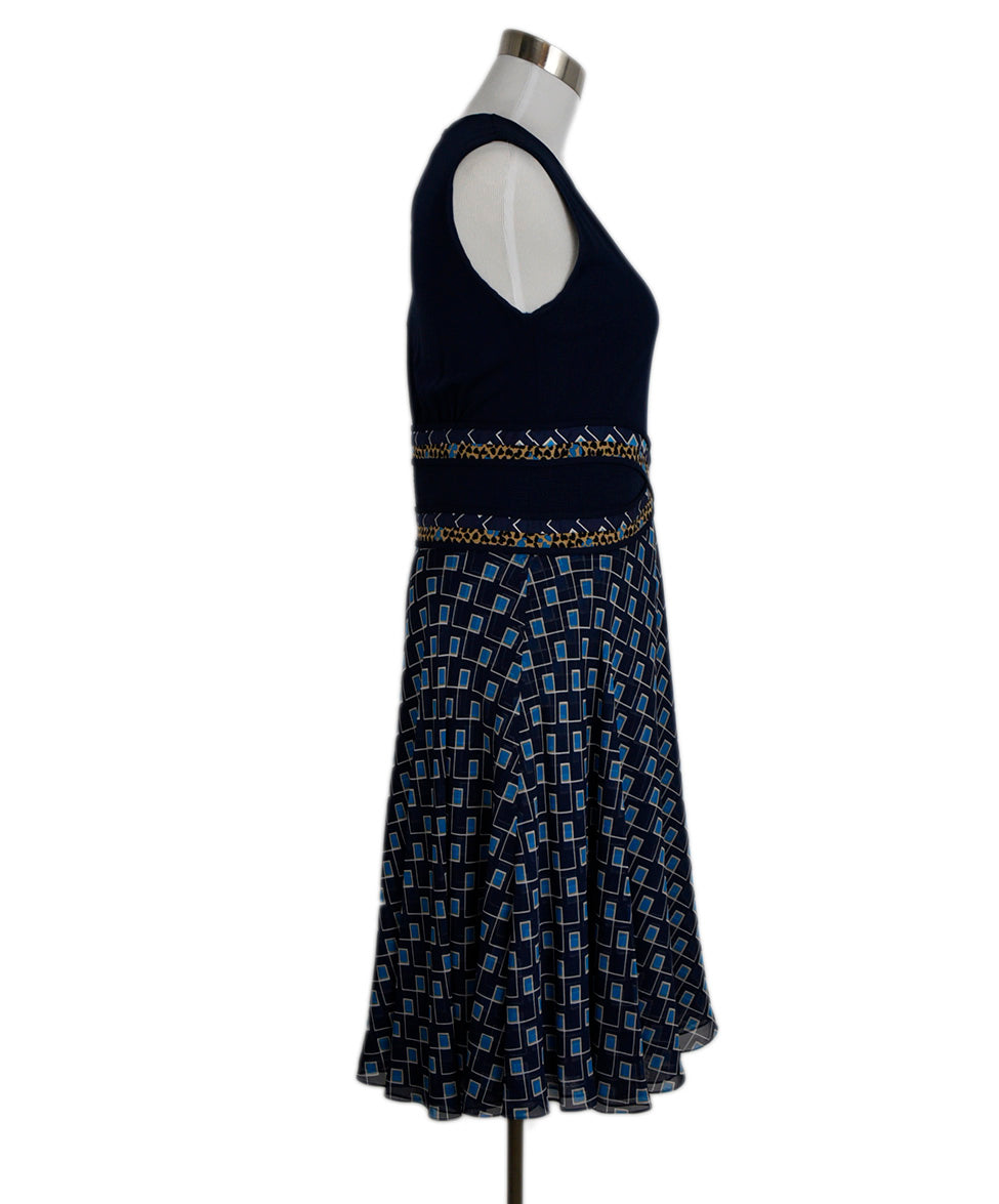 DVF Blue Navy Viscose Silk Print Dress 2