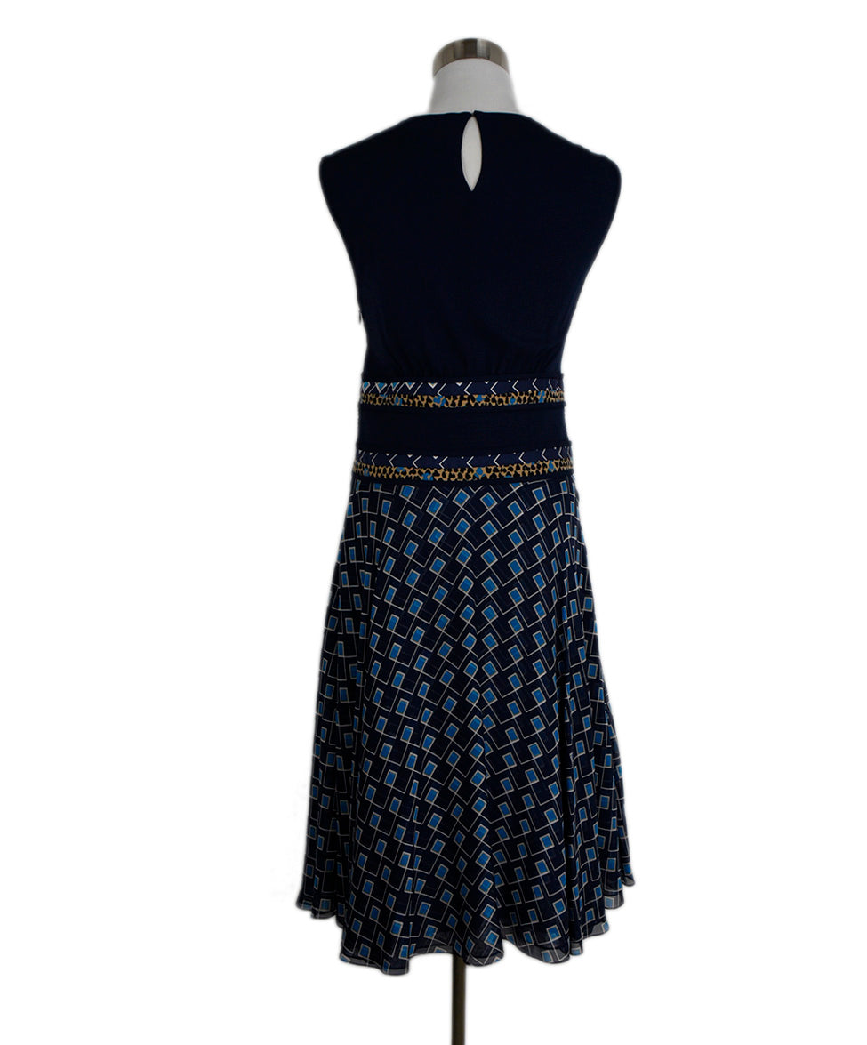 DVF Blue Navy Viscose Silk Print Dress 3