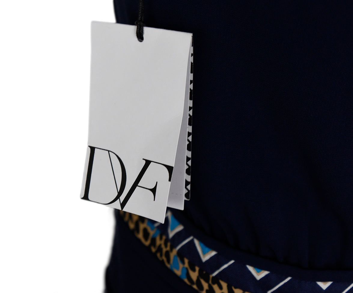 DVF Blue Navy Viscose Silk Print Dress 5