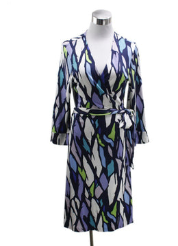 DVF Blue Purple Print Silk Dress