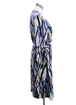 DVF Blue Purple Print Silk Dress 1