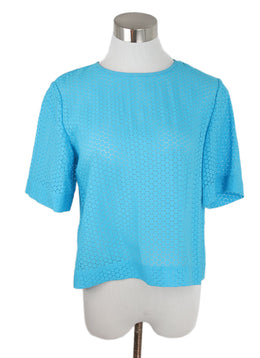 DVF Blue Turquoise Cotton Top 1