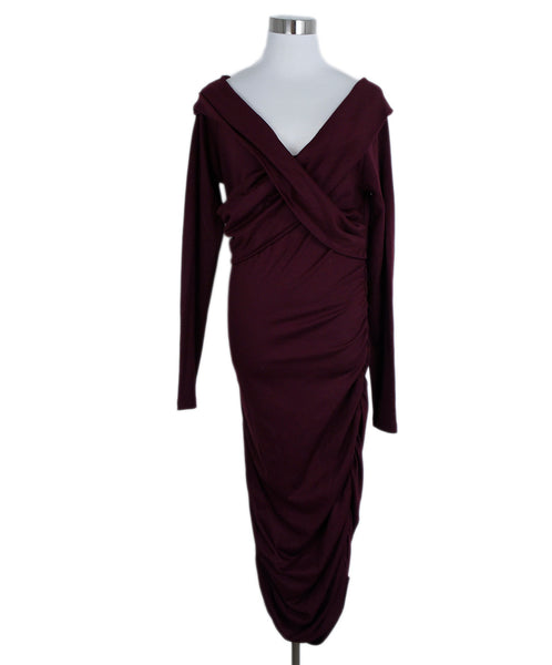 DVF Size 12 Red Burgundy Wool Ruched Longsleeve Dress 1