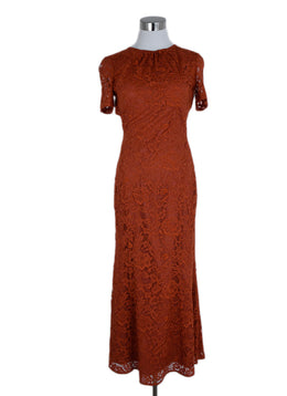 DVF Orange Lace Evening Dress 1