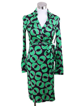 DVF Green Black Silk Pink Print Dress 1