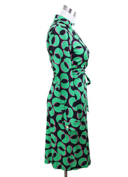 DVF Green Black Silk Pink Print Dress 2