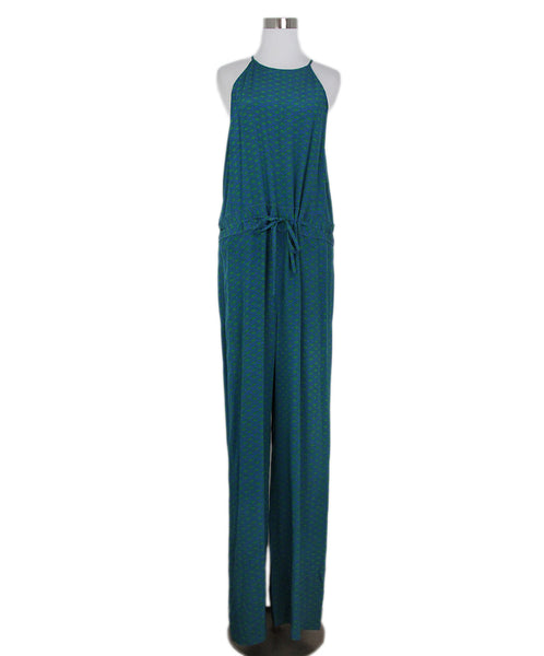 DVF green blue print jumpsuit 1