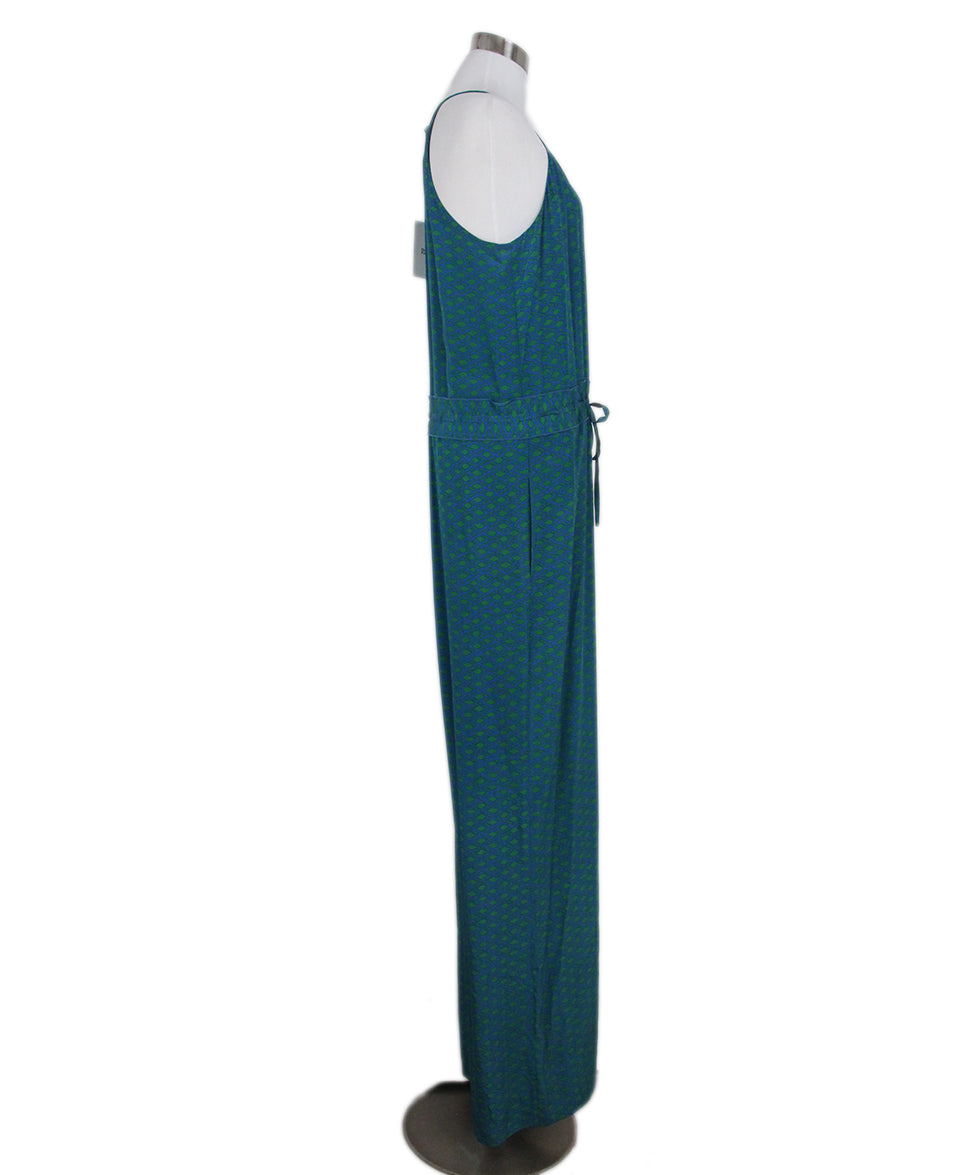 DVF green blue print jumpsuit 2