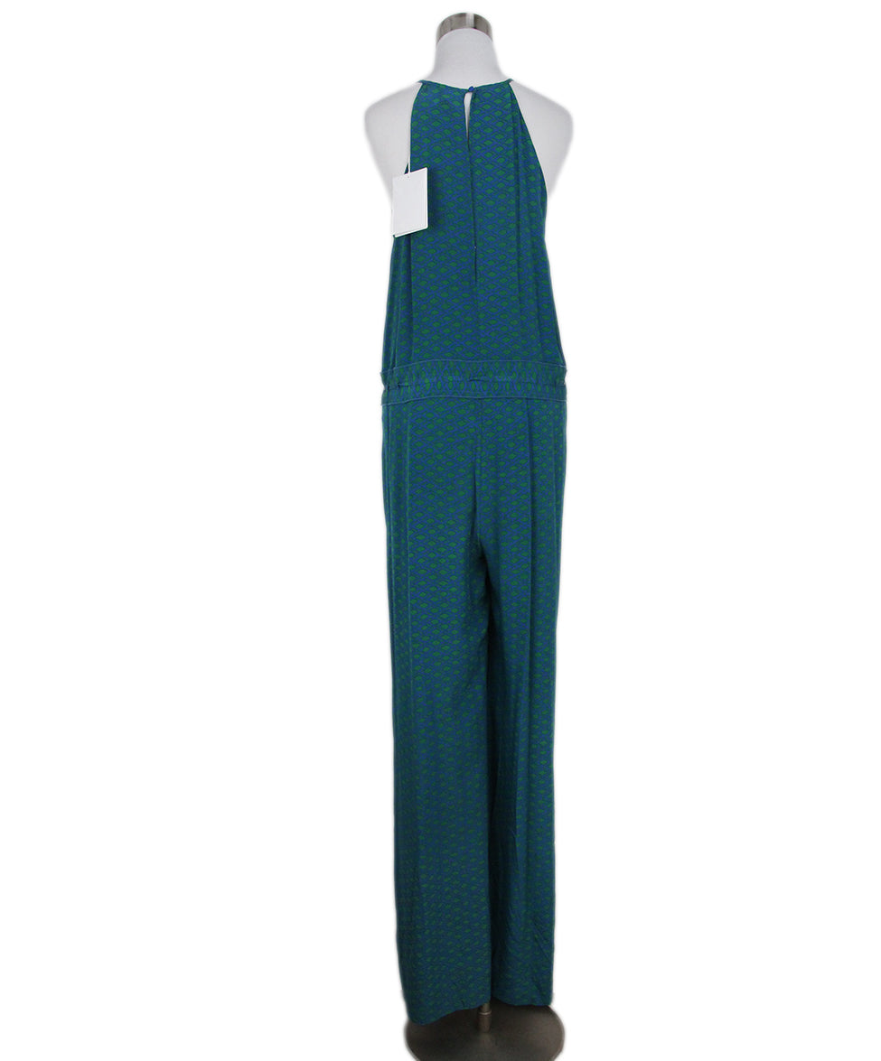 DVF green blue print jumpsuit 3