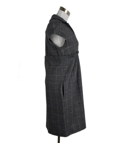 DVF Grey Wool Herringbone Dress 1