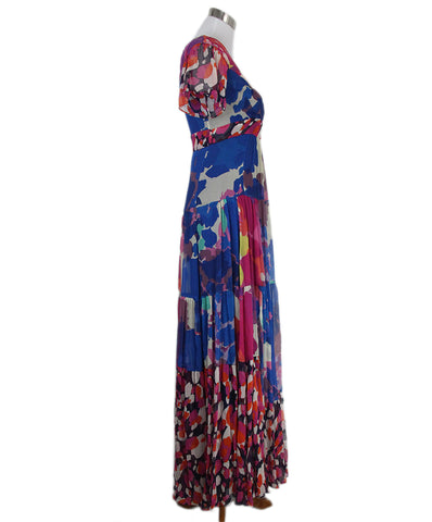 DVF long blue pink orange floral dress 1