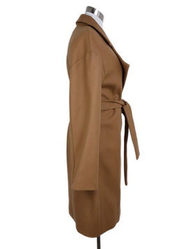Diane Von Furstenberg Neutral Camel Wool Blend Belted Coat 2
