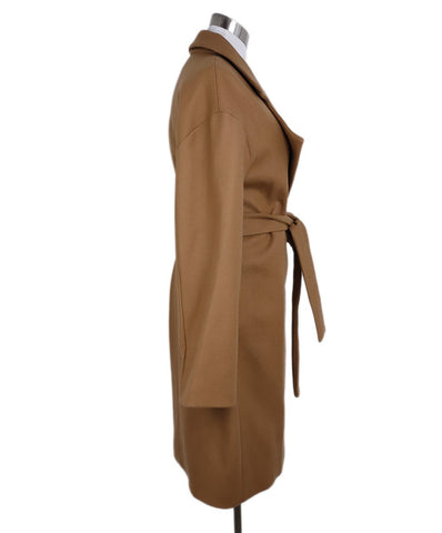 Diane Von Furstenberg Neutral Camel Wool Blend Belted Coat 1