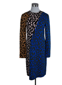 DVF Pink Black Blue Animal Print Polyester Dress 1