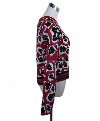 DVF Red White Print Wool Sweater 1