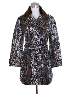 Dolce and Gabbana Black Brown Nylon Leopard Print Faux Fur Collar Coat 1