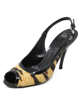 D&G Beige Print Canvas Patent Leather Trim Heels 1