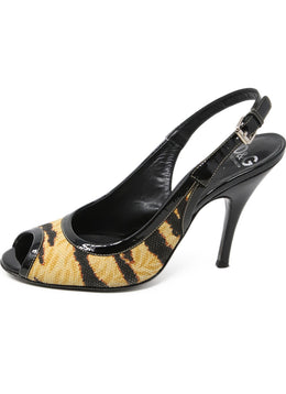 D&G Beige Print Canvas Patent Leather Trim Heels 2