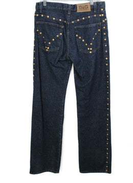 D& G Black Denim Gold Trim Pants 2