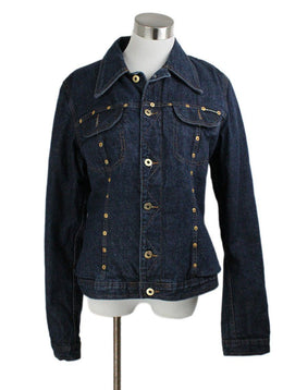 Jacket D& G Blue Denim Gold Trim Leopard Lining Outerwear 1